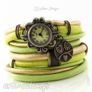 zegarek - bransoletka boho limonka - zegarek, bransoletka, szeroka, rzemienie, vintage