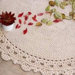 dywan okrągły ze sznurka round braid ecru dostępny od ręki, pleciony, dziergany