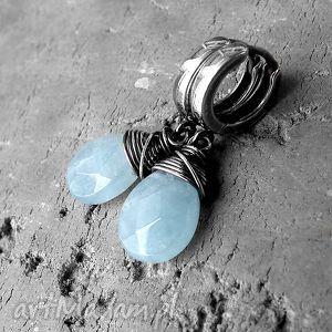 srebro i błekitny morganit - kolczyki, błękitne, wygodne, delikatne