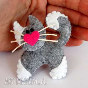 kotek broszka z filcu, kot, broszka, biżuteria, serce, modny, dziecko