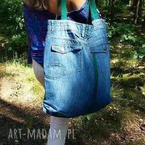 ręcznie zrobione na ramię duża jeansowa torba
