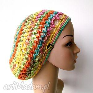 plażowa siatka na włosy - czapka, beret, ażur, lato, dodatek, plaża