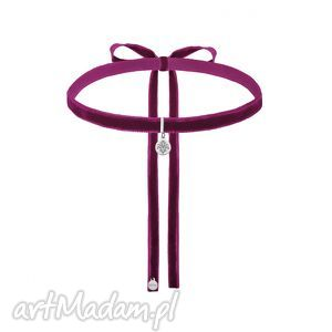 ręcznie wykonane naszyjniki purpurowy aksamitny choker ze srebrną rozetką