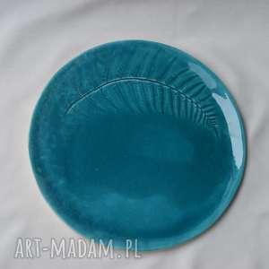 ceramika patera ceramiczna - paproć w turkusie, patera, talerz, paproć