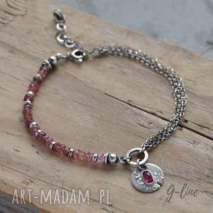 Turmalin różowy. Delikatna srebrna bransoletka z zawieszką., różowy-turmalin