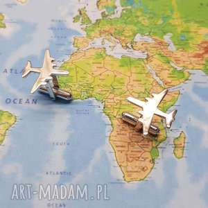 Srebrne spinki do mankietów samolot 925, srebro, podróżnik, podróż,