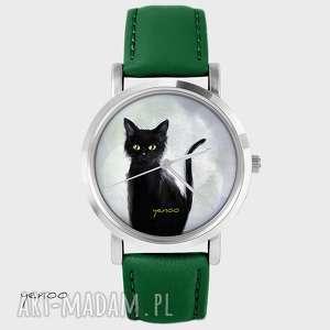 Prezent Zegarek - Czarny kot, szary skórzany, zielony, zegarek, bransoletka