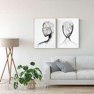 plakaty zestaw 2 oryginalnych grafiki czarno-białych 50 x 70 cm, abstrakcja, elegancki