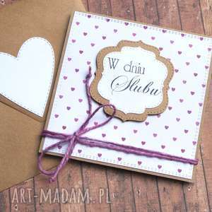 kartka ślubna : purple hearts, ślub