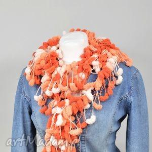 pom-pon scarf - pomarańczowy - pomarańczowy, melanż, szal, pompon, oryginalny