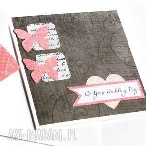 ręcznie zrobione kartki kartka ślubna :: handmade :: graphite