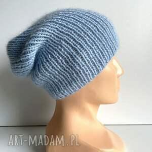 hand-made czapki ręcznie robiona czapka hand made ściągacz 100% baby merino plus moher
