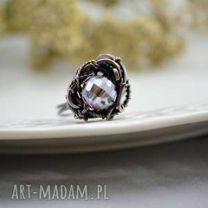 elegant disco - pierścionek regulowany z kryształkiem, miedzi