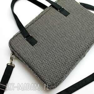 torba na laptop - tkanina w jodełkę grey, elegancka, nowoczesna, laptop, prezent