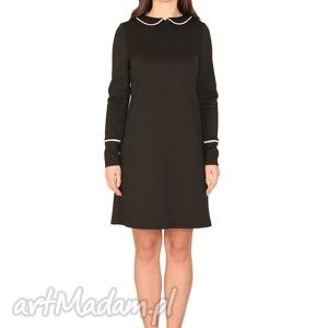 sukienki sukienka valentina, elastyczna, elegancka, kobieca, kołnierzyk, koraliki