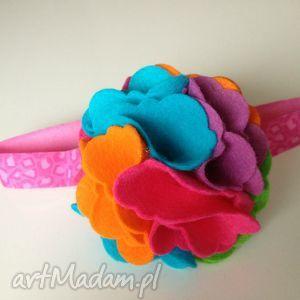 dla dziecka opaska niemowlęca - duży tęczowy kwiat, filc, roczek, sesja, prezent