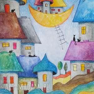 bajkowe miasteczko-akwarela formatu a4, akwarela, papier, koty, miasteczko