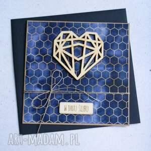 kartki geometryczne serce granat, ślub, ślubna