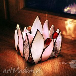 lampion świecznik witrażowy lily, lampion, świecznik, witraż