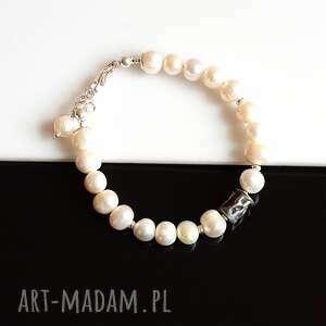 Bransoletka z pereł akadi 1 perła, srebro,