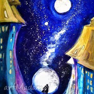 obrazy akryl na płótnie, obraz inna pełnia artystki plastyka adriany laube, zakochani