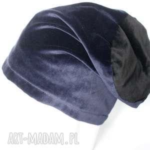 czapki czapka aksamitna granatowo-czarna, czapka, zima, ciepła, damska, aksamit