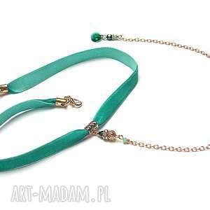 choker - /smycz/ sea green naszyjnik, choker, aksamitka, kryształki naszyjniki