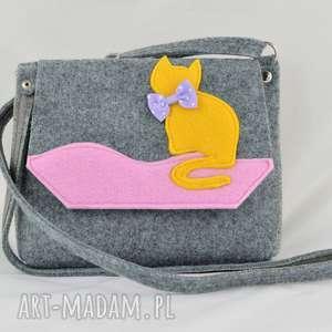 hand made dla dziecka torebka dziewczynki - torebeczka z kotkiem