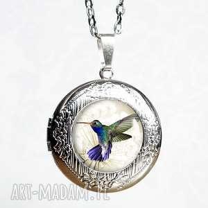 pastelowy koliberek Śliczny otwierany medalion sekretnik - naszyjnik-ptak