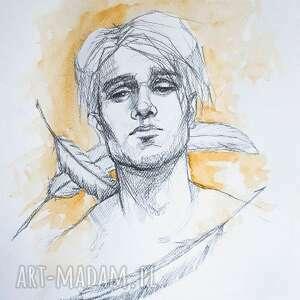 anioł - portret rysunek ołówkiem z dodatkiem akwareli artystki adriany laube