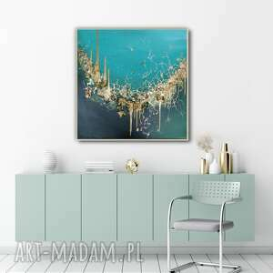 abstrakcyjny obraz ręcznie malowany do salonu - pęknięty szmaragd 80x80 cm