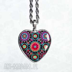 naszyjnik boho serce - serduszko, serduszka, stylowy, długi, kolorowy