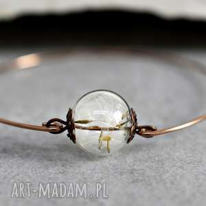 hand made bransoletki bransoletka - prawdziwe dmuchawce -pozłacana różowym złotem