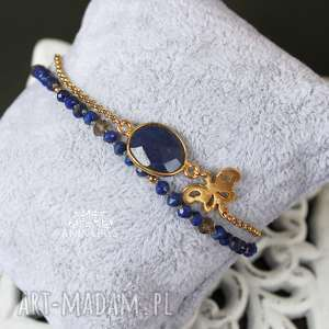 prezent na święta, summer dream, bransoletka, supełkowana, lapis lazuli, szafir