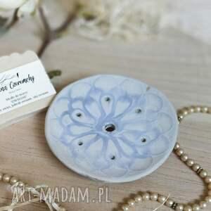 mydelniczka biała - krążek talerzyk ceramiczny, ceramika artystyczna, wystrój