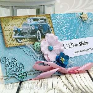 ręczne wykonanie scrapbooking kartki kopertówka ślubna - retro błękity