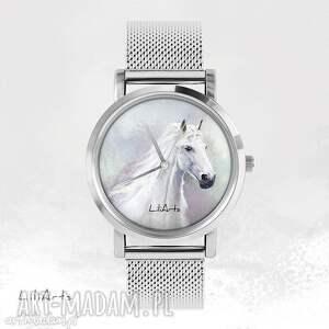 Prezent Zegarek, bransoletka - Biały koń metalowy, zegarek, bransoletka, metalowa