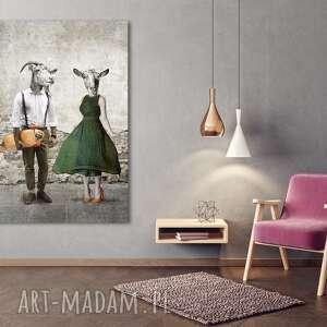 Obraz drukowany na płótnie kozłowscy, kozy w ubraniach stylu