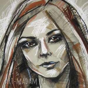 Ania - rysunek pastelami i tuszem, rysunek, portret, unikat, radzka, pastele, tusz