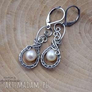 kolczyki z perłami, wire wrapping, stal chirurgiczna