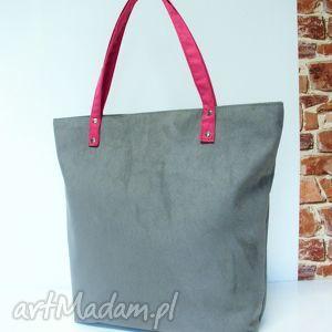 Shopper bag, szara, różowe, szyte, shoper