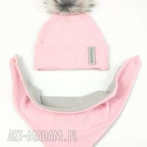 ręcznie robione czapki omplet zimowy - czapka z pomponem chusta podszyty polarem - kolor: różowy/róż
