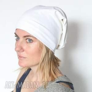 mała biała materiałowa czapka - czapka, choroba, biała, damska, mała