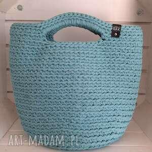 torba shopperka szydełkowa kolor dysty mint, torba, shopperka, shopper, damska