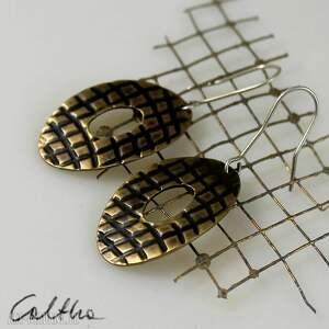 w kratkę - mosiężne kolczyki 150106-03, kolczyki, klipsy, mosiężne, złote
