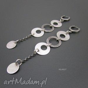kolczyki długie v, srebro, oksydowane, biżuteria