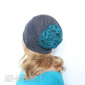 czapka damska dresowa z koronką, czapka, dresowa, dzianina, sport, mama, wiosna