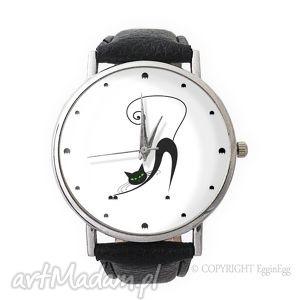 hand made zegarki zakręcony kot - skórzany zegarek z dużą tarczą