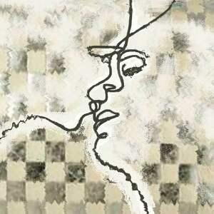 obraz beżowy, miłosna gra, abstrakcja, 120 x 80, nowoczesny do salonu