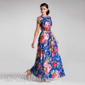 sukienki sukienka nerea maxi caroline, sukienka, maxi, długa, kwiaty, laty